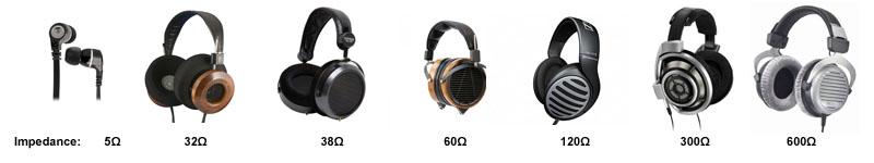 Range of headphones